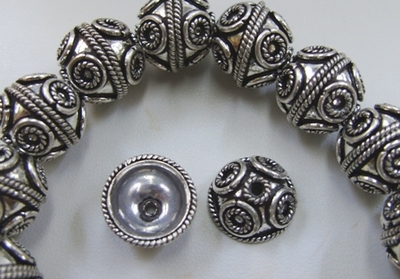 Embellished Bead Cap - 14mm - 26 Bead - .999 Silver Over Copper