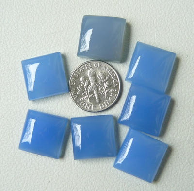 14MM Square Cabochons Blue Chalcedony