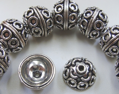 Embellished Bead Cap - 15mm - 17mm - .999 Pure Silver Over Copper