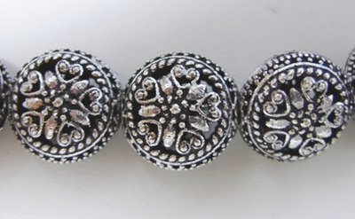 Flat Round Hollow Bead - 17mm - 12 Beads - .999 Silver Over Copper<br>SCBK4-4