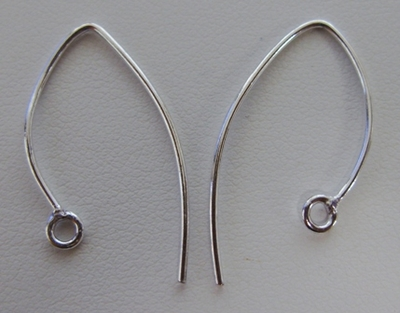 Marquise Ear wire 20mm  19 Pairs - .999 Silver Over Copper SCBK020