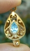 Clasp With Faceted Aqua - 22 kt. Gold Vermeil<br>GCL-12AQ