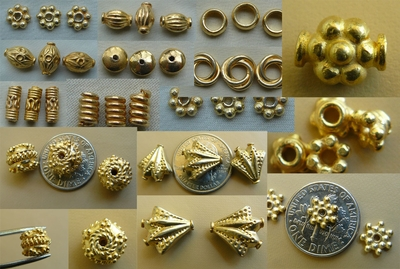 Beads Gold Vermiel -gold over Sterling Silver