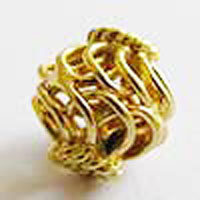 Basket Bead - 10mm - 22 Beads - 24 kt. Gold Over Copper<br>GCBK51