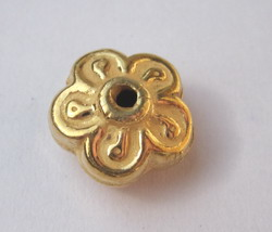 5-Petal Flower Bead - 12x7mm - 28 Beads - 24 kt. Gold Over Copper<br>GCBK119