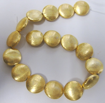 Disk Brushed Bead - 13mm - 15 Beads - 24kt. Gold Over Copper<br>GPB-418