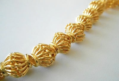 Bead Cap - 10mm - 44 Caps - 24kt Gold Over Copper<br>GCBK58