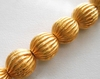 Fluted Bead - 10mm - 20 Beads - 24kt Gold Over Copper<br>GCBK111