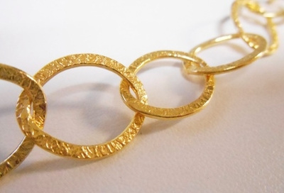Chain by the Foot - Textured - 18x15mm Oval Links - 24KT Gold Over Copper<br>GCBKCH-T3F