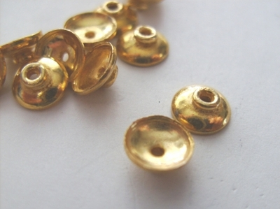 Shallow Bead Cap - 8mm - 60 Caps - 24Kt Gold Over Copper <br>GCBK106