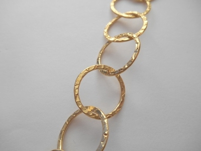 Chain by the Foot - Textured - 20mm Round Links - 24kt Gold Over Copper<br>GCBKCH-T2D