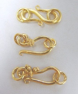 - Hook and Eye and S-Clasps - 24Kt. Gold Over Coopper