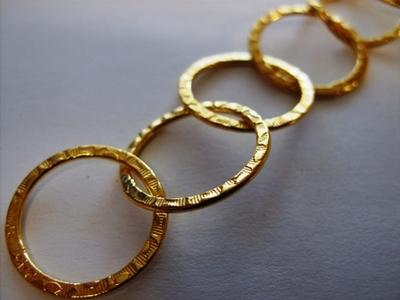 Chain by the Foot - Textured - 20mm Round Links - 24kt Gold Over Copper<br>GCBKCH-T1D
