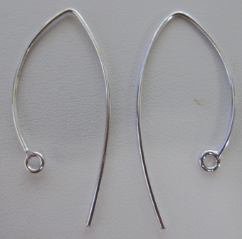 Marquise Earwire 28mm - 15 Pairs - .999 Silver Over Copper SCBK028