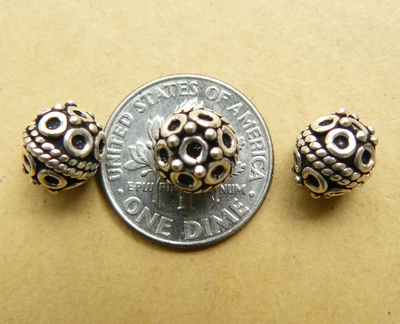 3 Sterling Silver 8mm detailed round Beads