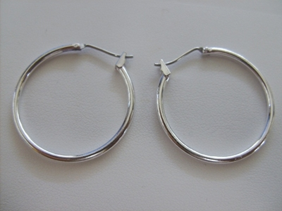 Hoop Ear Wire - 30mm - 3 Pairs - .999 Silver Over Copper