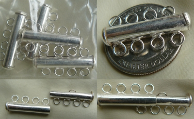 4-Strand Slide Clasp with magnetic catch 999 silver over copper