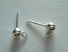 Ball Posts w/Ring 4mm 10 Pieces  Sterling Silver