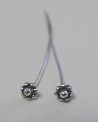 "5mm Flower Head Pin Style 3"" - 5mm - 30 Pieces - .999 Silver Over Copper"