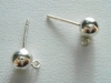 Ball Post w/Ring 6mm 10  Pieces Sterling Silver