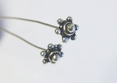 """7mm Fancy Head Pin 3"""" - 7mm - 22 Pieces - .999 Silver Over Copper"""