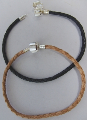"Braided Leather Large-Hole Bead Bracelets - 8"" - .999 Silver Over Copper<br>20CM"