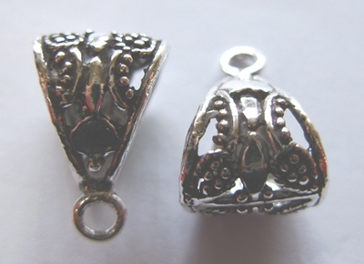 Open Work Bail - 10x20mm - 6 Pieces - .999 Silver Over Copper