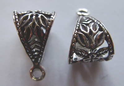 Leaf Design Bail - 11x18mm - 6 Pieces - .999 Silver Over Copper