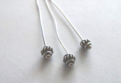 "Head Pin - 3"" - 22 Pieces - .999 Silver Over Copper"