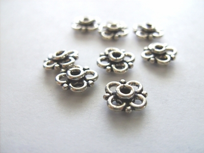Small Floral Connector 10mm - 56pcs - .999 Silver Over Copper Core