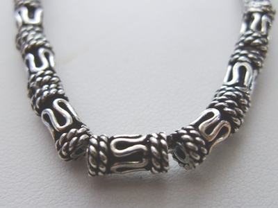 Bali-Style Tube Bead - 9x4mm - 23 Beads - .999 Silver Over Copper