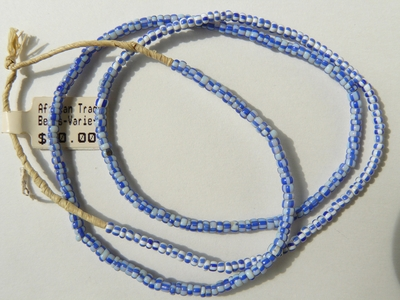 "African trade beads 2x3mm white and blue color 24"" strands"