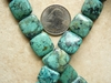 "African Turquoise Square beads 16mm 8mm thick 16"" strands"