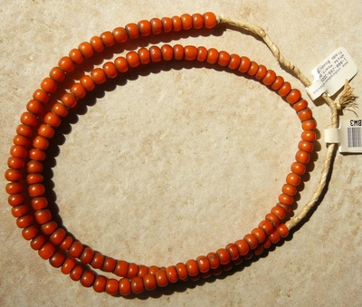 "African white heart beads Orange color 4x6mm 22"" strands"
