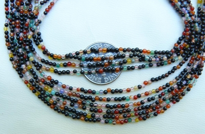 "Agate Multi-colored beads 1.5mm 16"" strands Colorful"