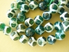 Agate Window beads 10mm Faceted white and Green