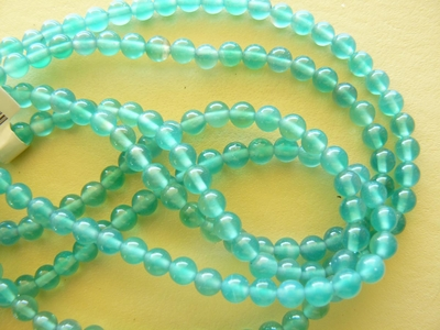 "Agate Green round 4mm Beads 16"" strands"
