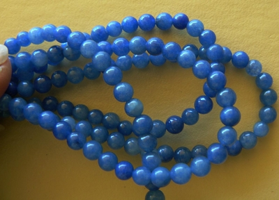 """Agate Blue Beads 4mm Round 15"""" strands"""