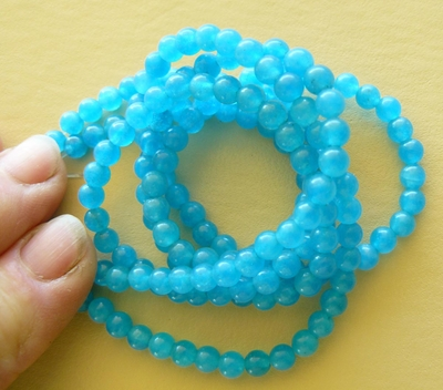 "Agate round Blue 6mm Beads 16"" Strands"