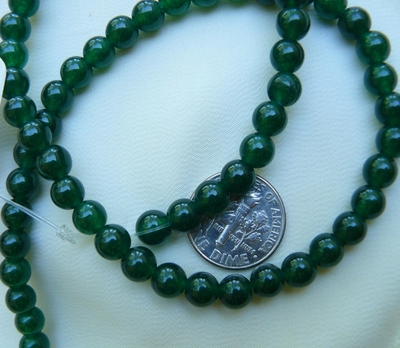 "Agate Dark Green 6mm Round beads 15"" Strands"
