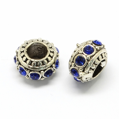 Alloy Rhinestone European Beads, Rondelle Large Hole Beads, Sapphire, 11x7mm, Hole: 5mm