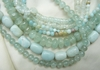 Amazonite and Aqua marine Beads  Round, Square, Rondelles 16 ' strands