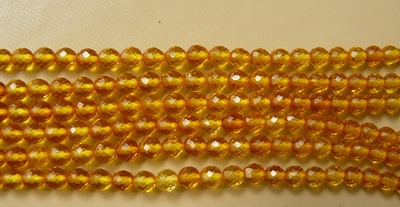 "Amber beads lemon color faceted 16"" strands 4 or 6mm (SOLD OUT)"
