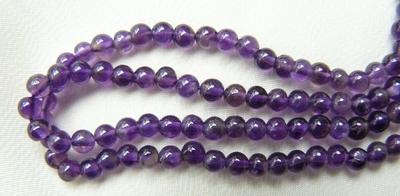 "Amethyst Beads 4mm round 13"" strands"