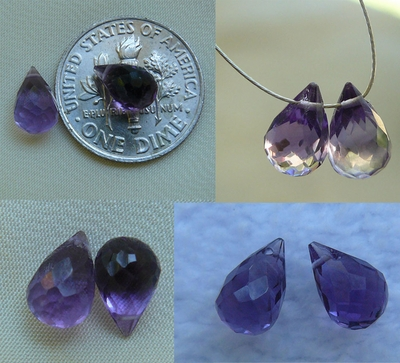 Amethyst Briolette bead sets Faceted 7x12mm Drops (set of 2)