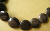 "Antique Black Jasper 16mm circle beads 16"" strands"