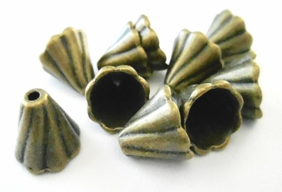 Cone With Swirl Design - 13x12mm - 10 Pieces - Antique Bronze<br>EA10181Y-AB