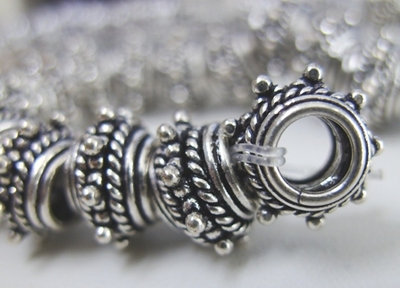 Bali-Style Layered Large-Hole Bead - 12mm - .999 Pure Silver Over Copper<br>SCBKP24