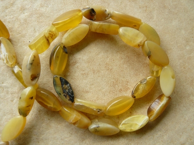 "Baltic Amber Small oval Bricks 16"" strand natural Beads"