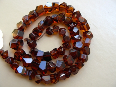 "Baltic Cherry Amber nuggets 6 to 12 mm 17"" strands"